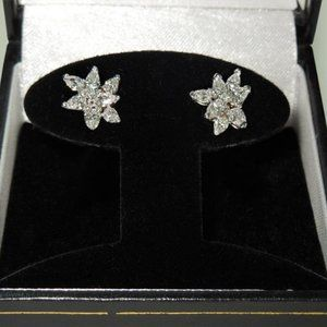 3 carats Pear shape round diamond cluster earrings